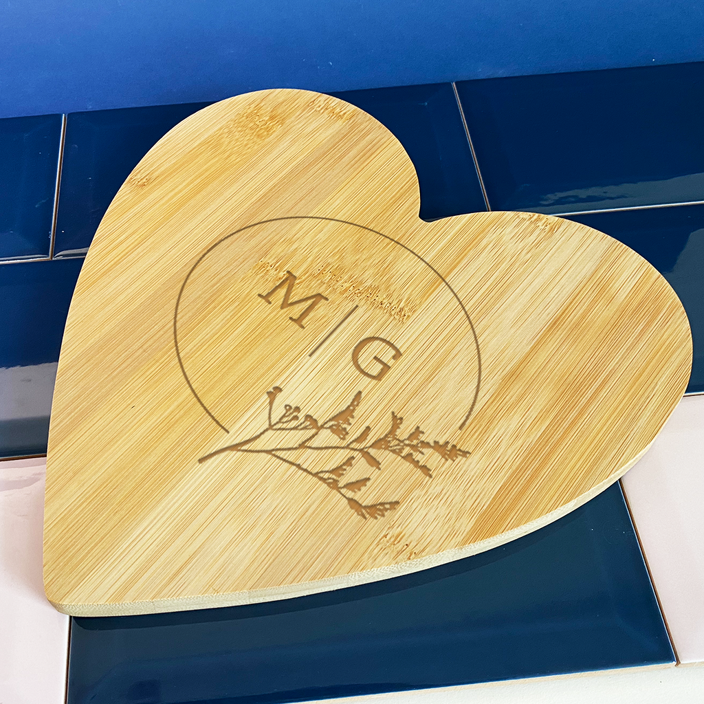 Personalised Bamboo Heart Shaped Board 25Cm