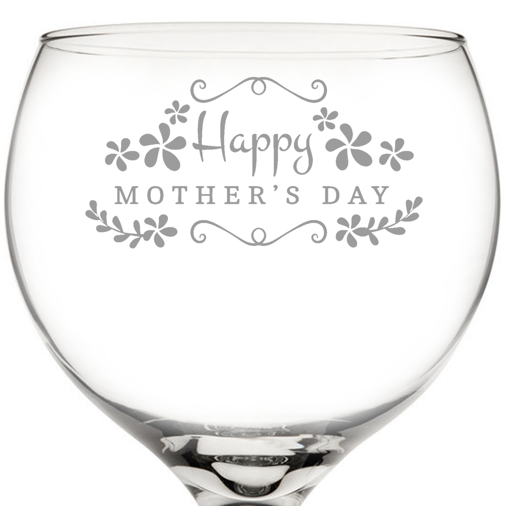 Happy Mother's Day Balloon Gin Glass