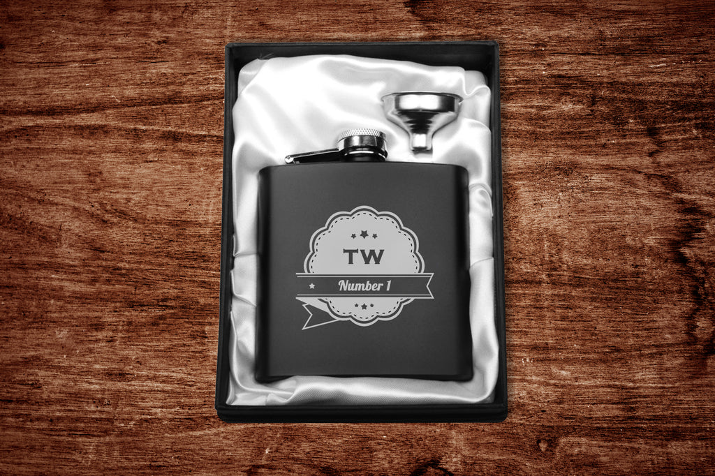 Personalised Usher/Best Man Matt Black Hip Flask 500Ml