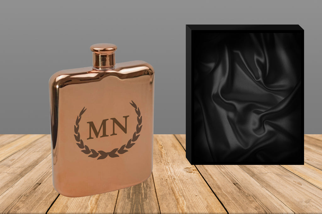 Personalised Rose Gold 6oz Hip Flask