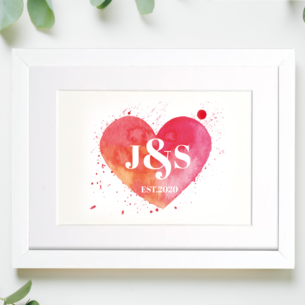 Watercolour Love Heart Framed Mounted Print