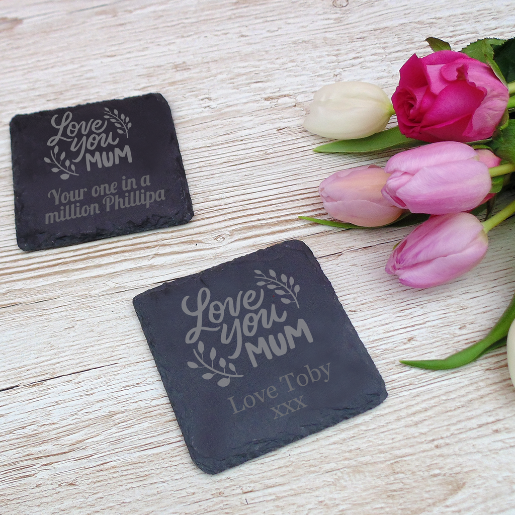 Love You Mum Mother's Day Slate Coaster