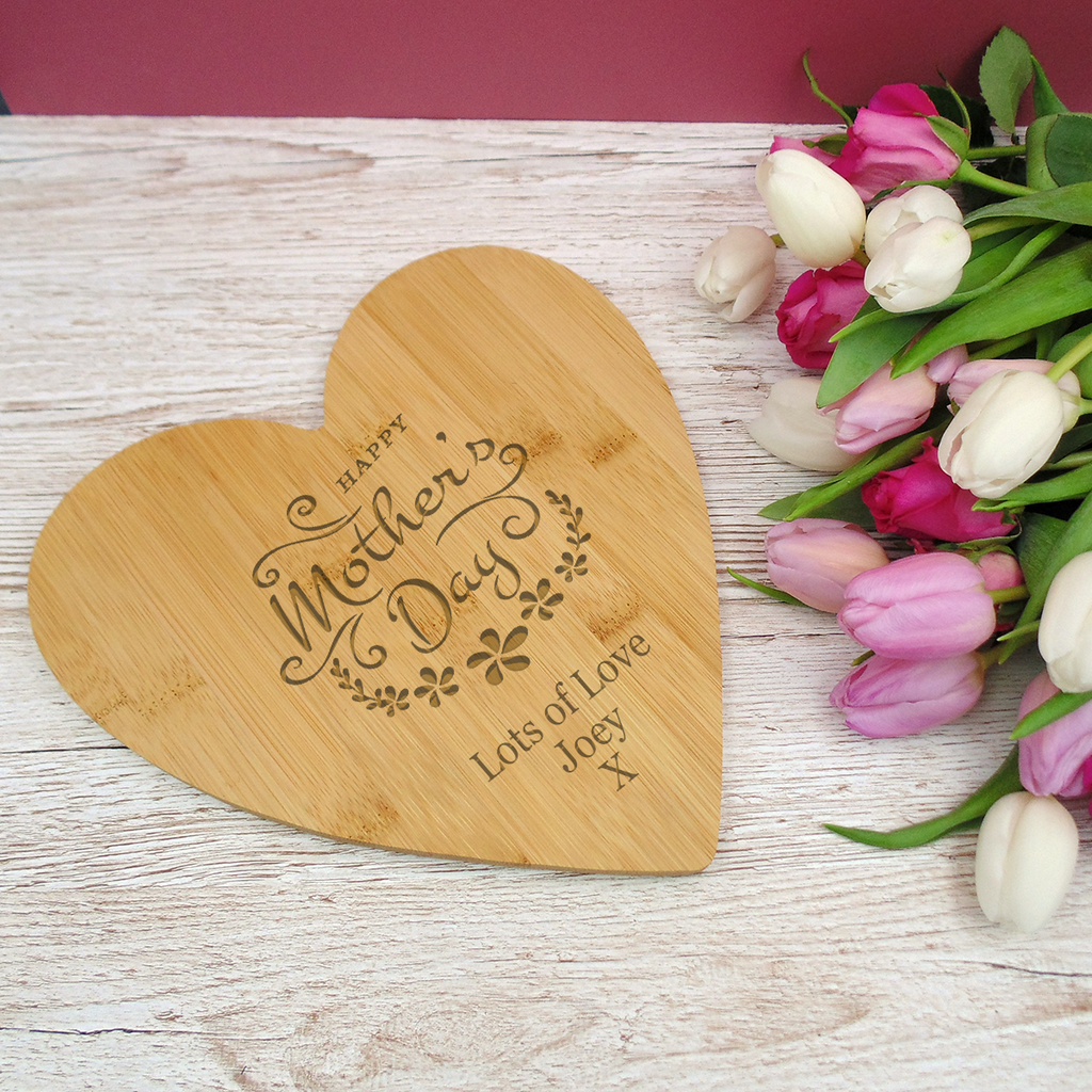 Mother's Day Bamboo Heart Shaped Board 25cm
