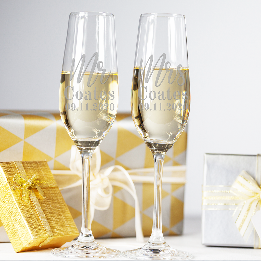Couples Champagne Flutes Mr & Mrs, Mrs & Mrs, Mr & Mr