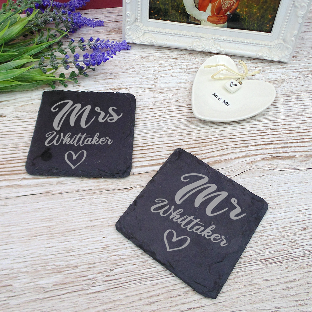 Couples Matching His and Hers, Hers and Hers, His and His Mr & Mrs Natural Slate Coaster Set