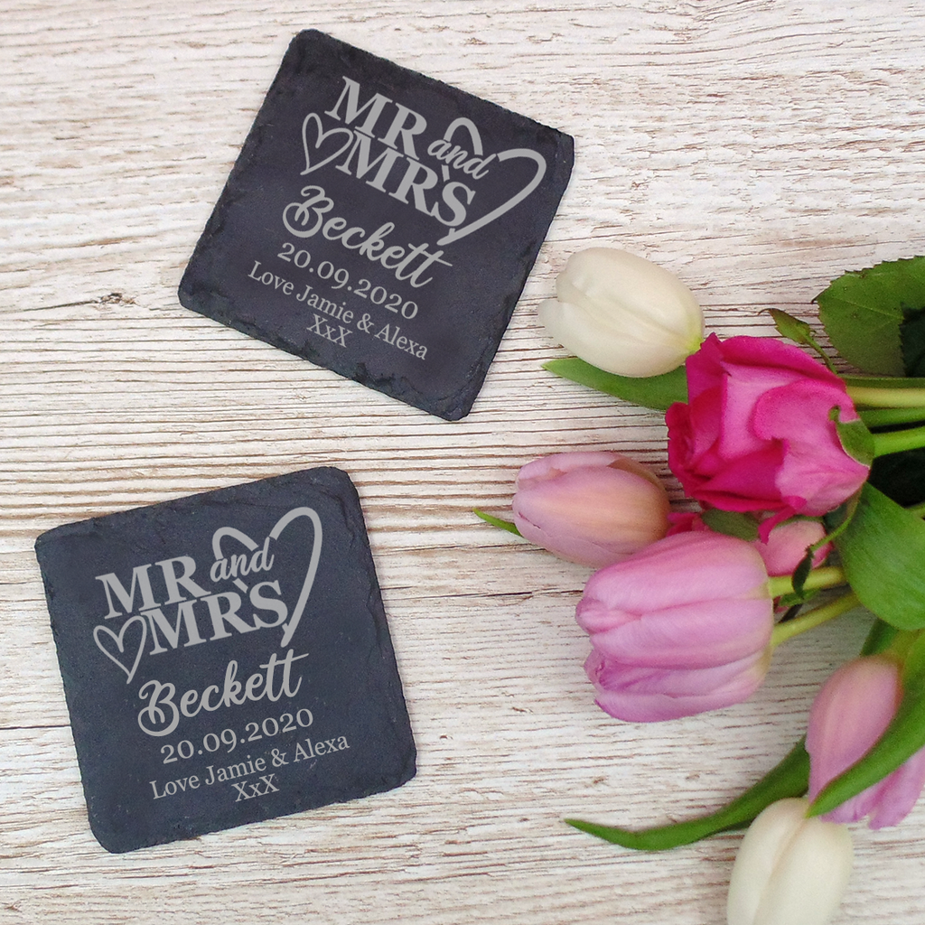 Couples Natural Slate Coaster Set Mr & Mrs, Mrs & Mrs, Mr & Mr