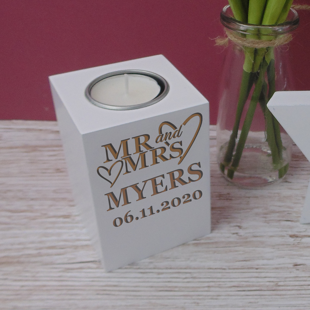 Couples Mr & Mrs White Solid Wood Luxury Pillar Tea Light Candle Holder