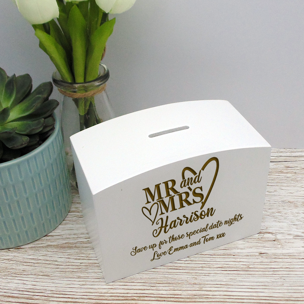 Couples Mr & Mrs White Wood Money Box Mr & Mr, Mrs & Mrs