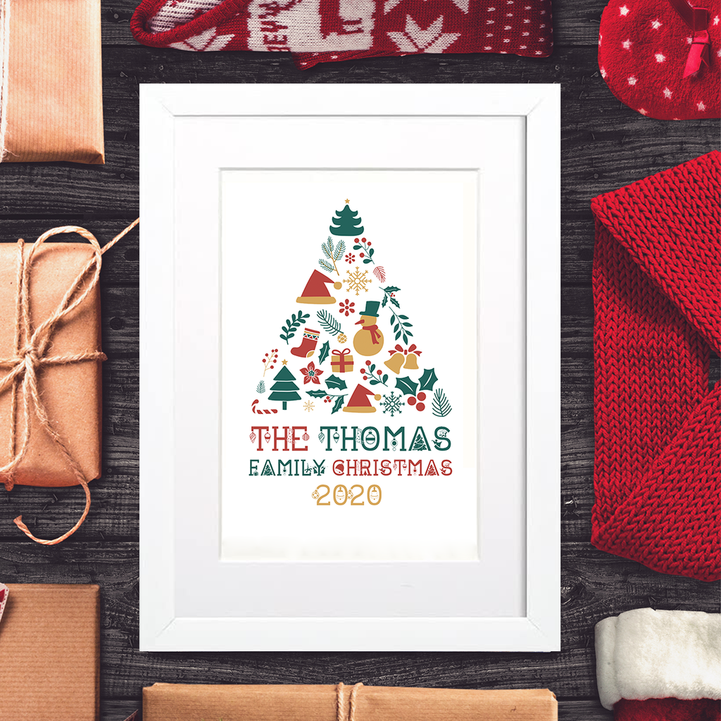 Family Christmas Tree Framed Mounted Print