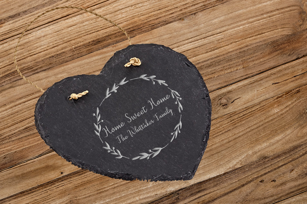 Natural Slate Heart Shape Sign With Rope