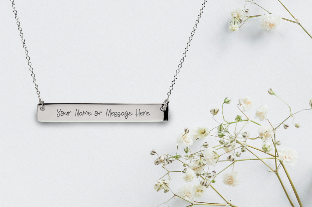 Personalised Personalised Engraved Sterling Silver Bar Necklace