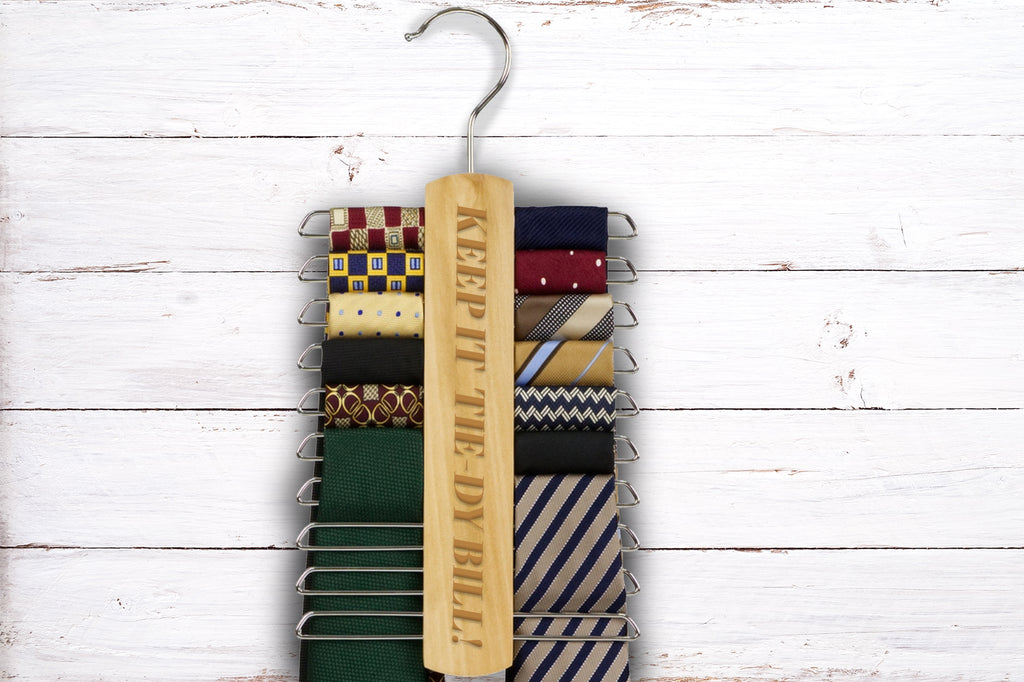 Personalised Wooden Tie Hanger Rack