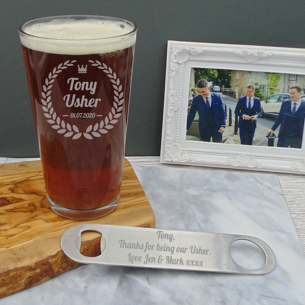Usher/Best Man Badge Pint Beer Glass