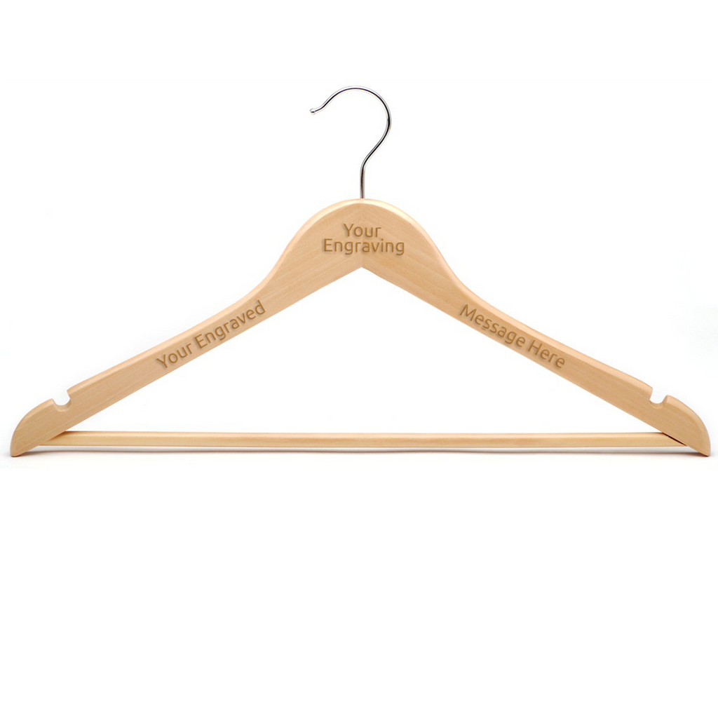 Wooden Hanger with Notches and Bar 44cm