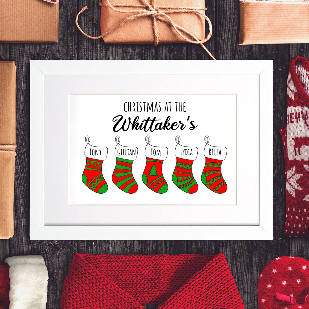 Family Christmas Stocking Framed Mounted Print
