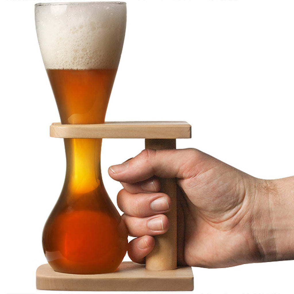 Quarter Yard Ale Glass with Wooden Stand