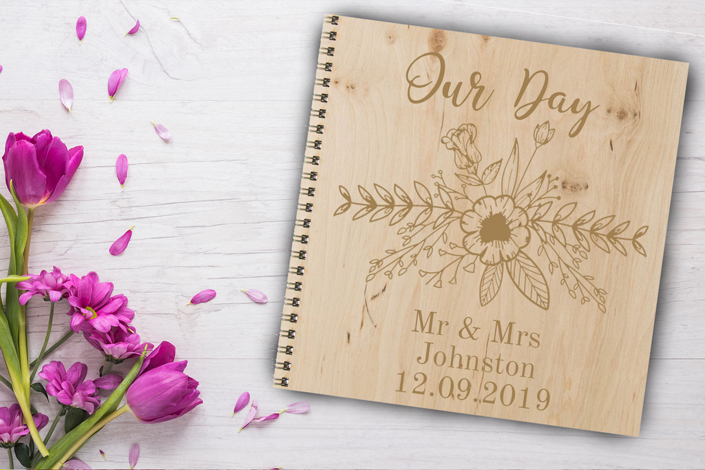 Wooden Wedding Notebook 20cm x 20cm