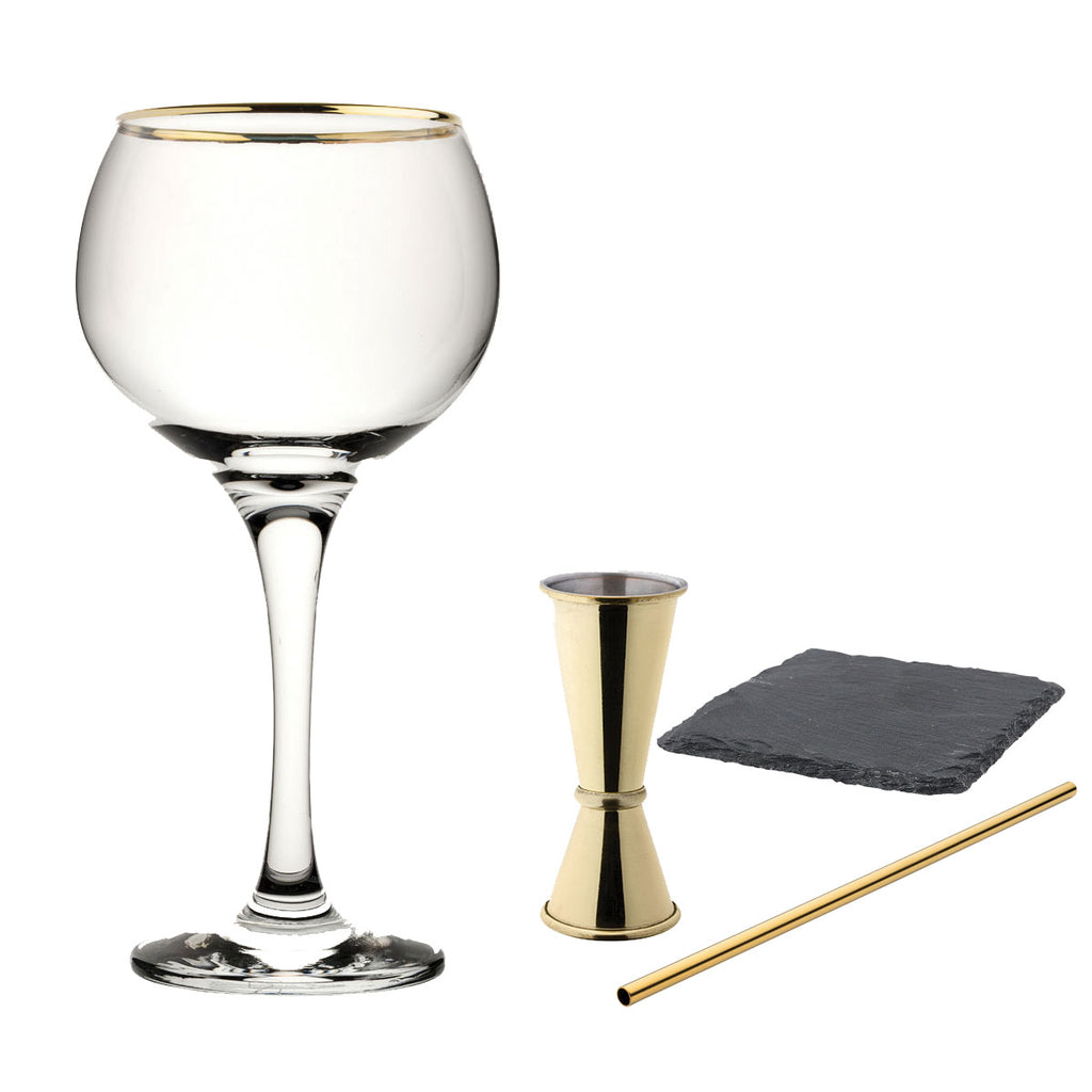 Contents of Personalised Gin Gift Set Gold Rimmed Balloon Glass | Gift Box Gold Jigger & Straw with Coaster