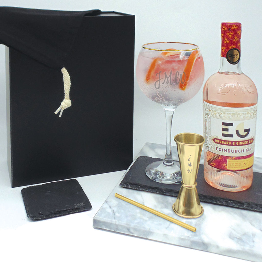 Personalised Gin Gift Set Gold Rimmed Balloon Glass | Gift Box Gold Jigger & Straw with Coaster