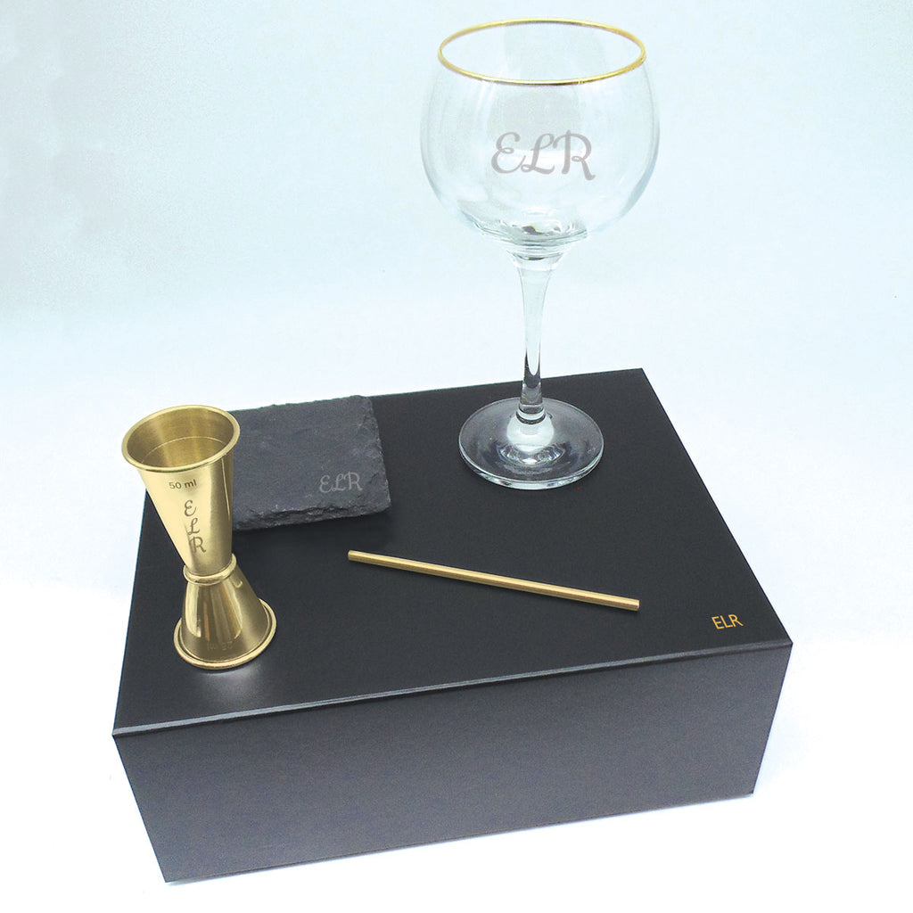 Gin Gift Set Personalised Gold Rimmed Balloon Glass | Gift Box Gold Jigger & Straw with Coaster