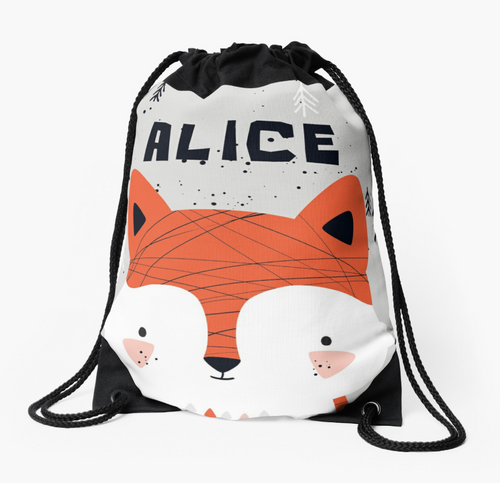 Baby fox — Large Drawstring Bag / Pick and Name it