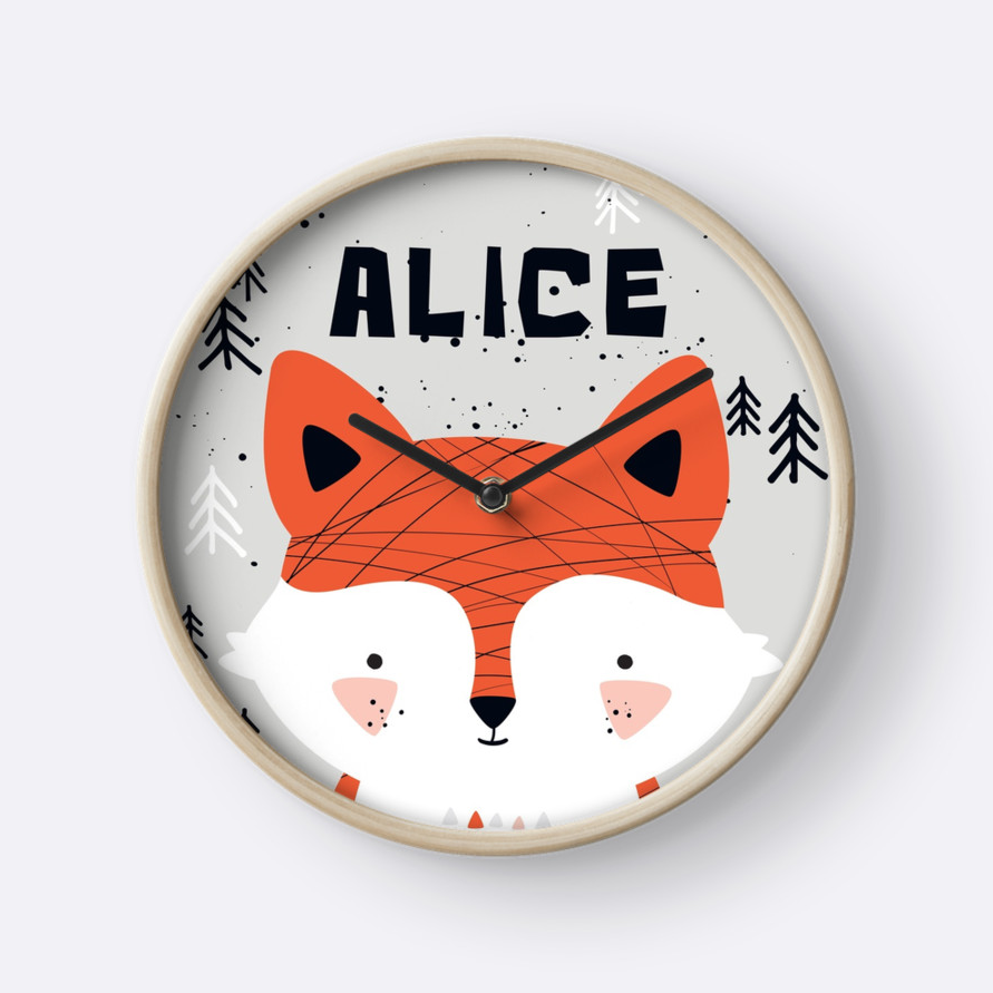 Baby Fox — Wall Clock / Pick and Name it