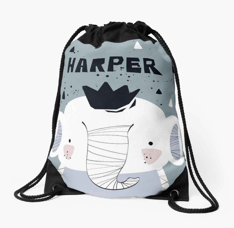 Baby Elephant — Large Drawstring Bag / Pick and Name it