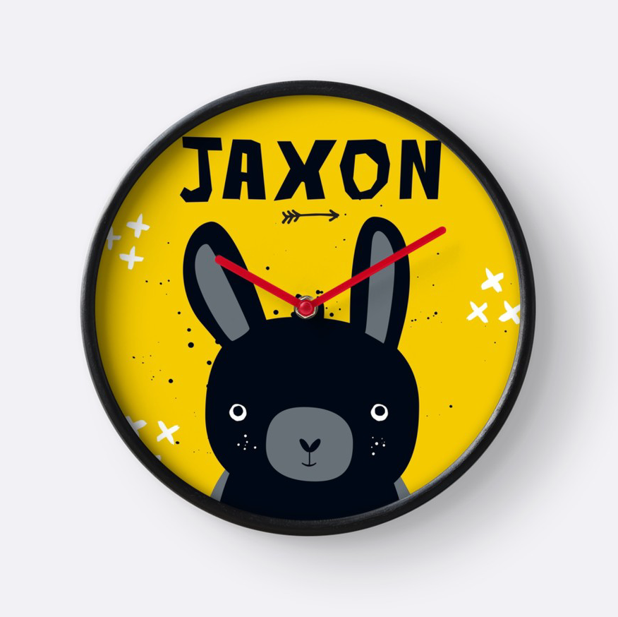 Baby Bunny Blacky — Wall Clock / Pick and Name it