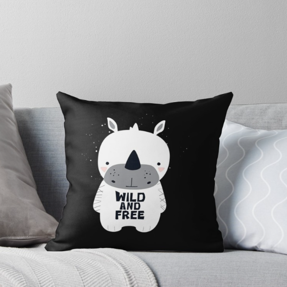 Baby White Rhino (Wild and Free) — Cushion / Pick and Name it