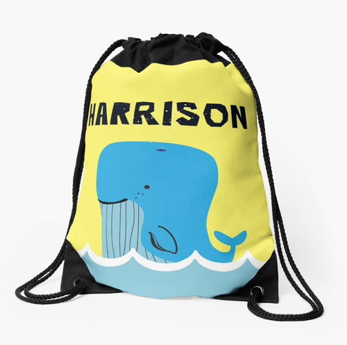 Baby Blue Whale — Large Drawstring Bag / Pick and Name it