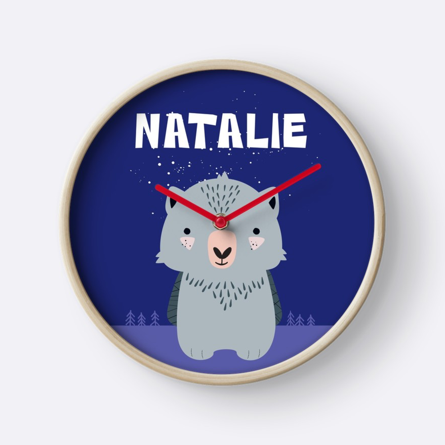 Baby Wombat — Wall Clock / Pick and Name it