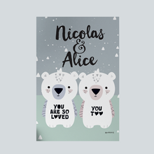 Bear Cubs (Twins) — Art Print / Pick and Name it