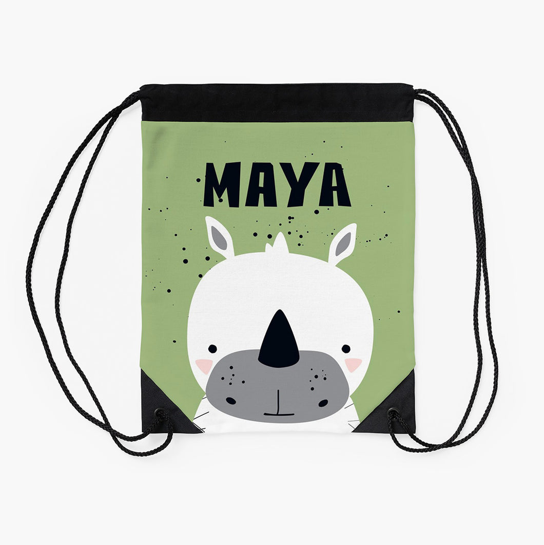 Baby White Rhino — Large Drawstring Bag / Pick and Name it