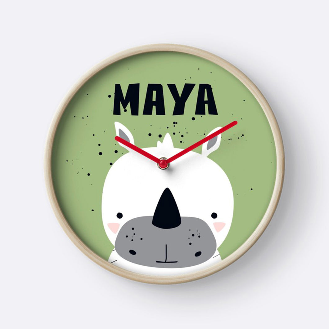 Baby White Rhino — Wall Clock / Pick and Name it