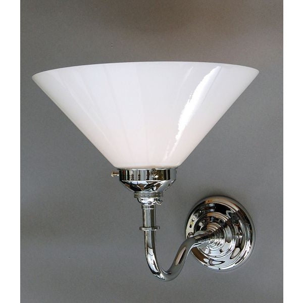 Art Deco Style Chrome Wall Light Fitting - 30S-WL1-C - Opal Coolie Lamp Shade