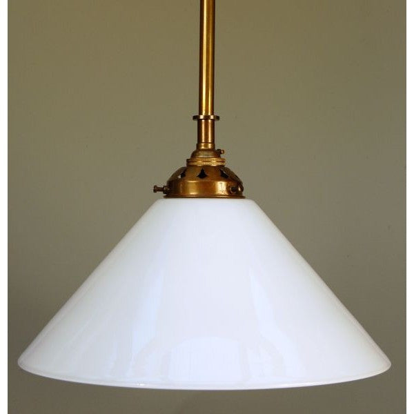 Coolie Pendant Light - Aged Brass - Opal Shade - 30S-RP1-AB