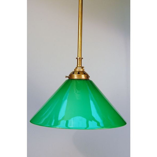 Aged Brass Deco Style Rod Pendant Light & Green Glass Coolie Shade- 30S-RP1-AB