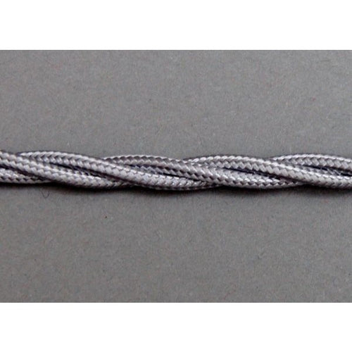 Twisted Braided Lamp Lighting Flex 3 Core - Silver/Grey 0.5mm - TBFSG