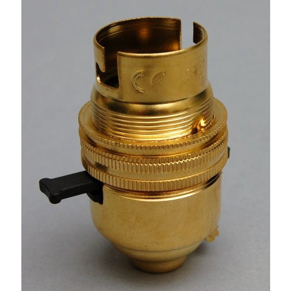 Brass BC Switched Bulb Holder - 3013E