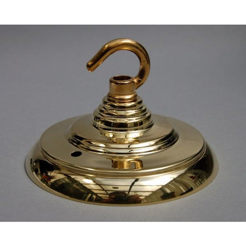 ADCROH/PB - Brass Ceiling Rose & Hook - Art Deco