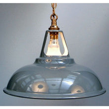 New Enamel Industrial Pendant Light Lamp Shade & Aged Brass Chain Pendant - 30S-CP-AB - Grey