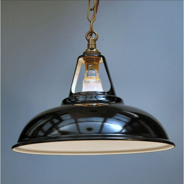 New Enamel Industrial Shade & Aged Brass Chain Pendant - 30S-CP-AB - Black
