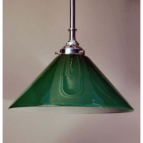 Chrome Deco Style Rod Pendant & Green Coolie Shade - 30S-RP1-C