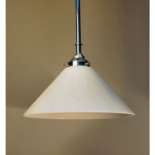 Chrome Deco Style Ceiling Rod Pendant & White Coolie Shade - 30S-RP1-C