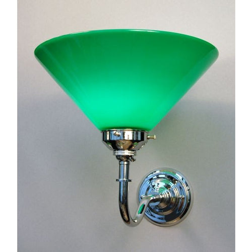 Wall lights wall lamps lights art deco lighting company chrome wall bracket green coolie shade 30s wl1 c mozeypictures Images
