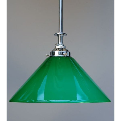 Chrome on Brass Ceiling Pendant with Green Glass Coolie Shade - 30S-RP3LG-C