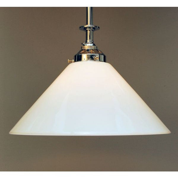 Chrome on Brass Ceiling Pendant Light & White Coolie Shade - 30S-RP3LG-C
