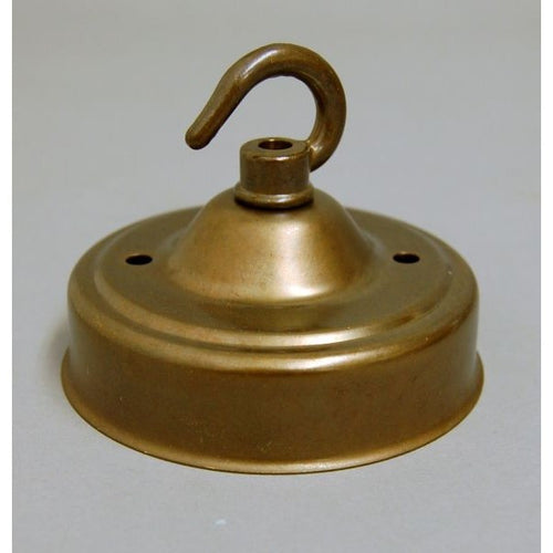 Q038H/7069H - Aged Brass Ceiling Rose & Hook Deep