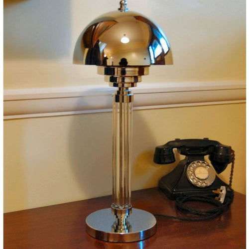 art deco lamp. Art Deco Reeded Glass Console Table Lamp
