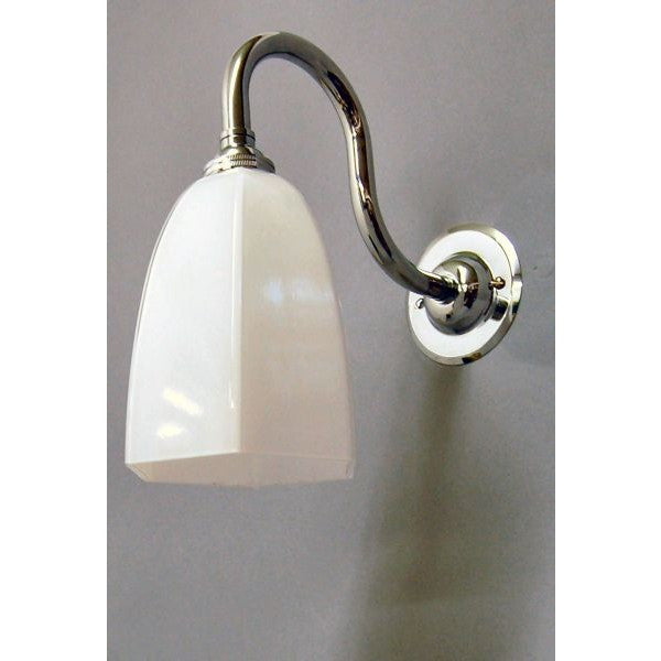 Chrome Swan Neck Wall Lamp & Hexagonal Glass Tulip Shade